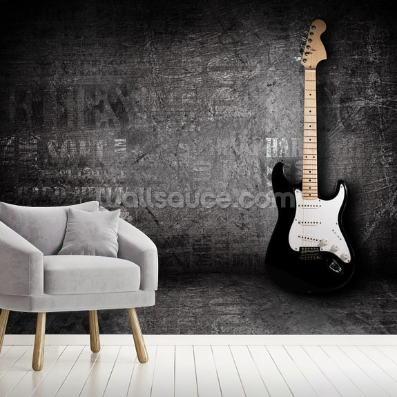 Electric Guitar mural wallpaper room setting