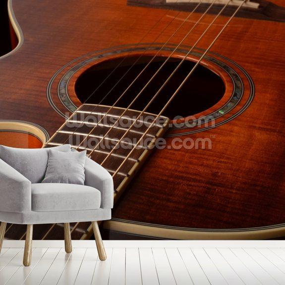 acoustic guitar wallpaper mural wallsauce usacoustic guitar wall mural room setting