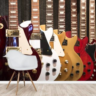 Colourful Electric Guitars Wallpaper Wall Murals