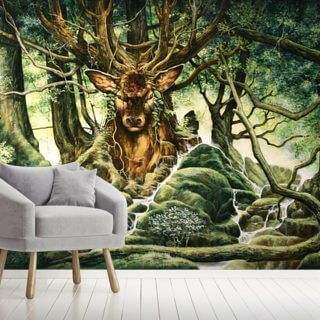 Deer Tree of Brocéliande Wallpaper Wall Murals
