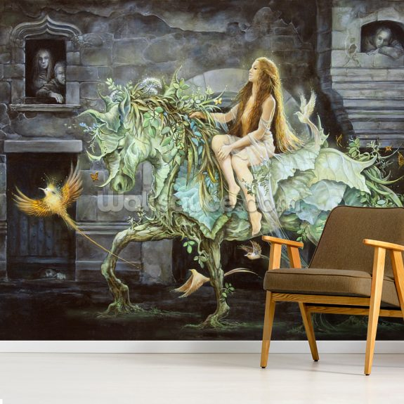 She comes into the City wall mural room setting