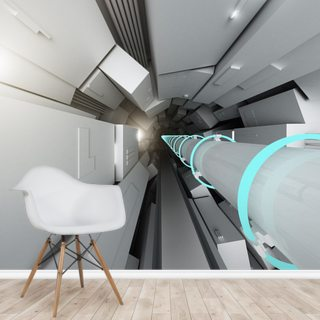 Hadron Collider Tunnel Wallpaper Wall Murals