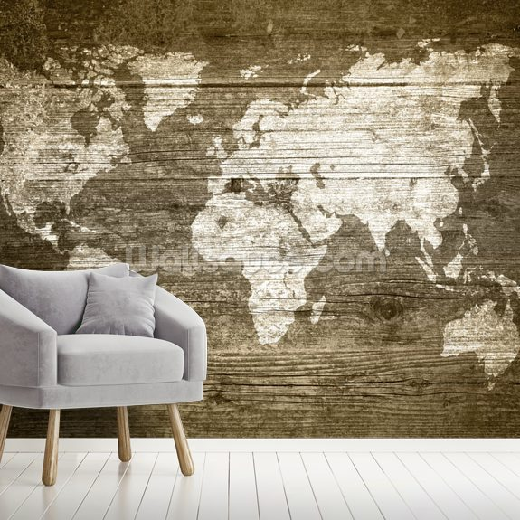 World Map on Wood wall mural room setting