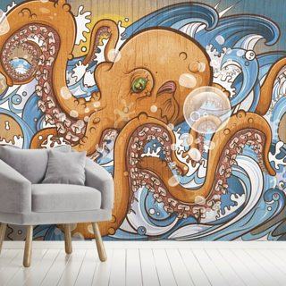Surfing the 8 Legged Waves Wallpaper Wall Murals