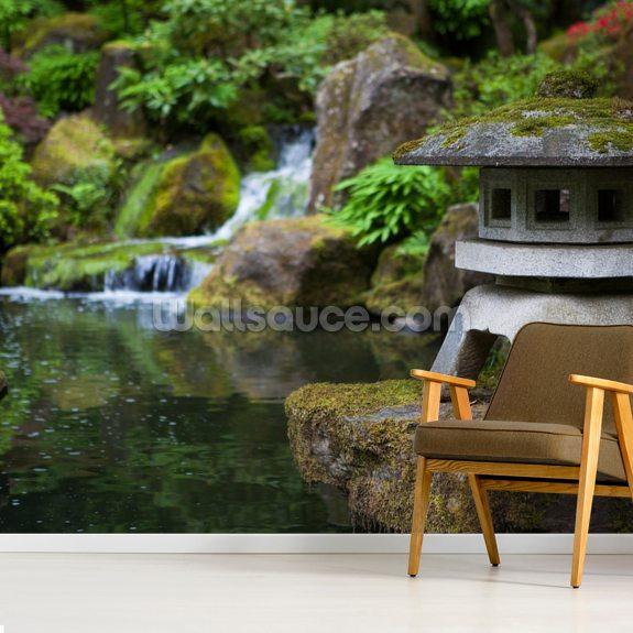 Japanese Garden Rock Lantern Mural Wallpaper Room Setting