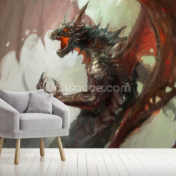 Dragon rage wallpaper mural room setting