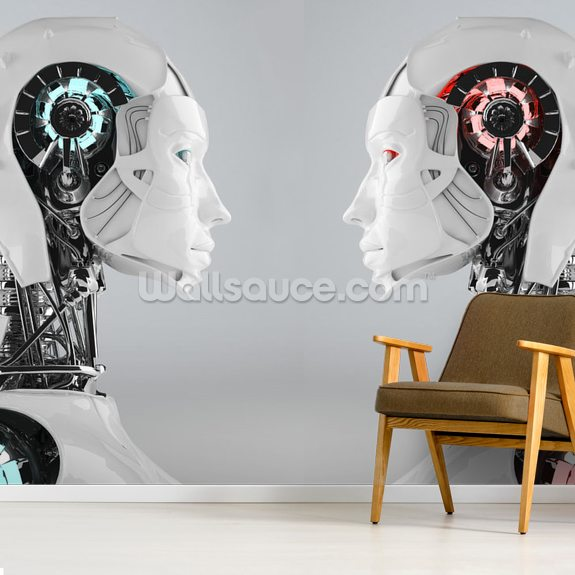 Android Women Face to Face wall mural room setting