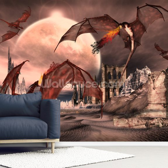 Fantasy Scene With Fighting Dragons wallpaper mural room setting