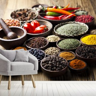 Spices in Bowls Wallpaper Wall Murals
