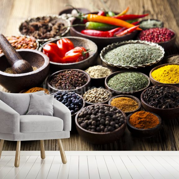 Spices in Bowls wall mural room setting