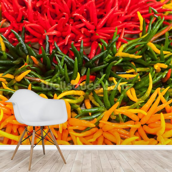 Chilli Peppers wallpaper mural room setting