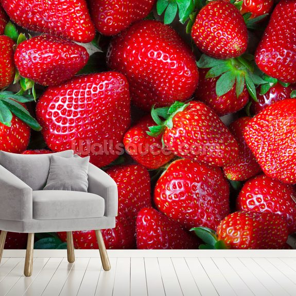 Strawberries Fresh wallpaper mural room setting