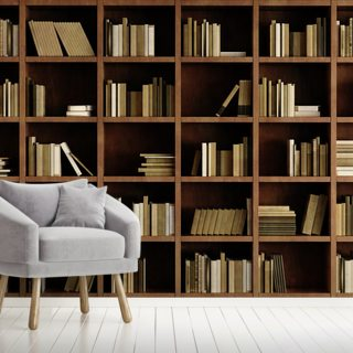 Natural Bookcase Wallpaper Wall Murals