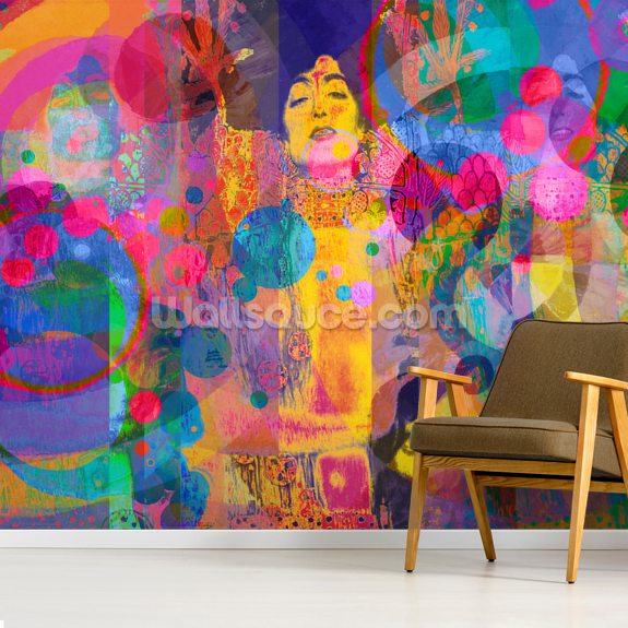 Crazy Rainbow mural wallpaper room setting