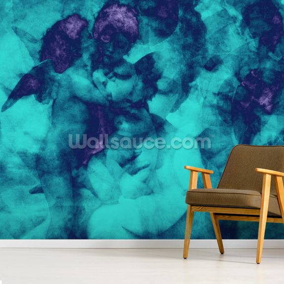 Softly Softly - Turquoise Wall Mural by Studio Arterie | Wallsauce NZ