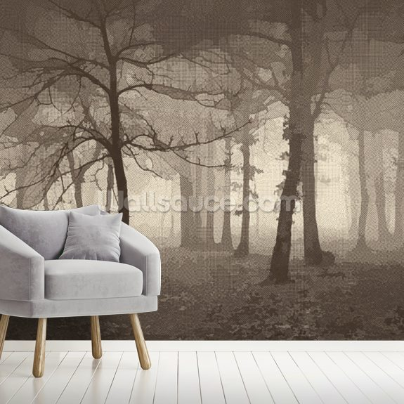 Delusion - Sepia wall mural room setting