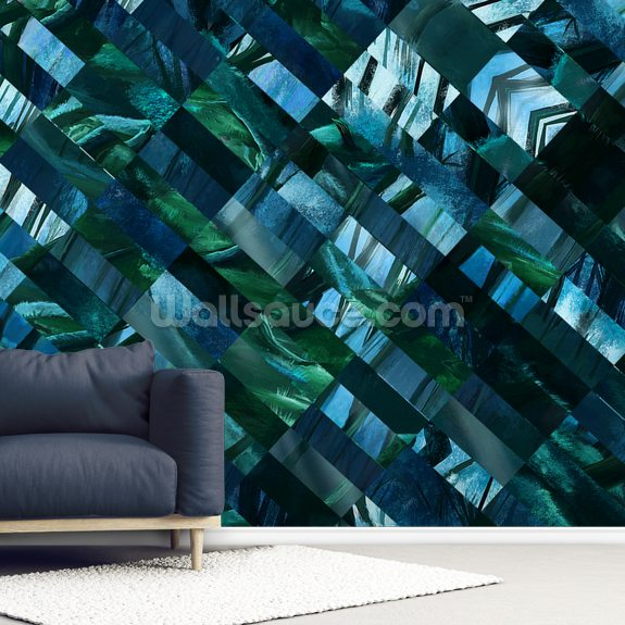 Enchanted Trees Blue wall mural room setting