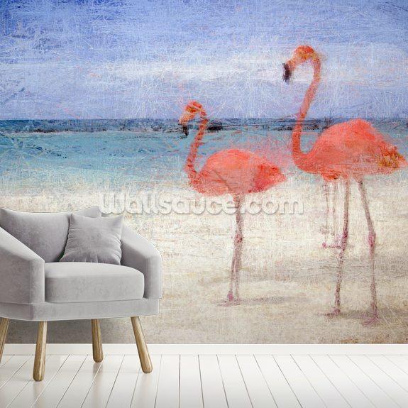 Flamingo Natural Wallpaper Mural By Studio Arterie Wallsauce Uk