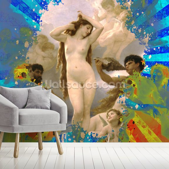 One Love Blue Yellow mural wallpaper room setting