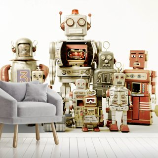 Retro Robots Wallpaper Wall Murals
