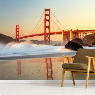Golden Gate Sunrise Wallpaper Wall Murals
