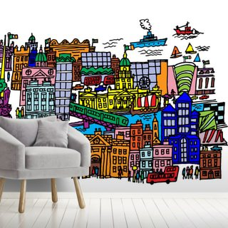 Dublin City Centre Wallpaper Wall Murals