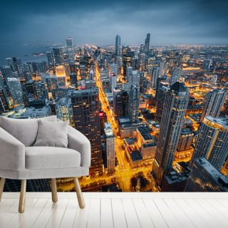 Chicago Skyline Dusk Wallpaper Wall Murals