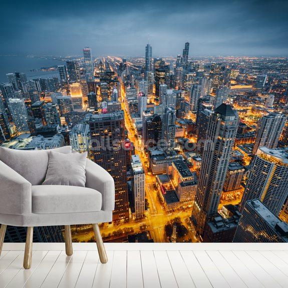 Chicago Skyline Dusk Wallpaper Mural Room Setting