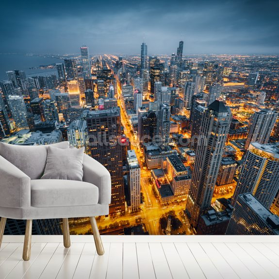 Chicago Skyline Dusk wallpaper mural room setting