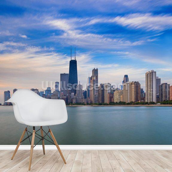 Chicago Skyline Wall Mural Room Setting