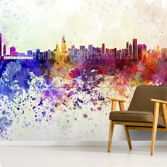 Chicago Abstract wall mural room setting