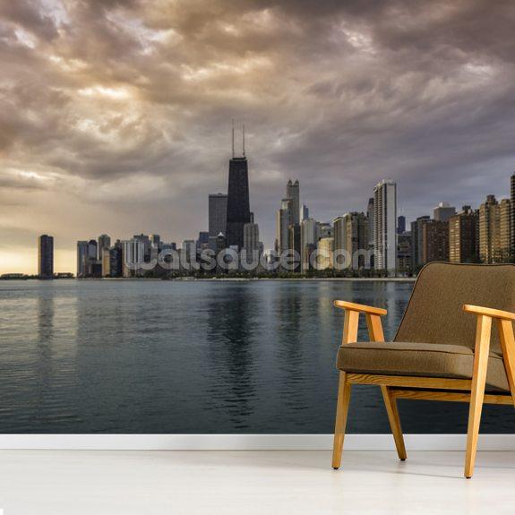 Chicago Sunrise Skyline Wallpaper Mural Room Setting