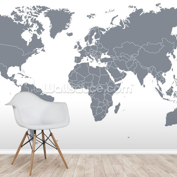 Grey World Map wallpaper mural room setting