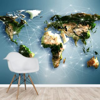 Communications World Map Wallpaper Mural Wallsauce Fi