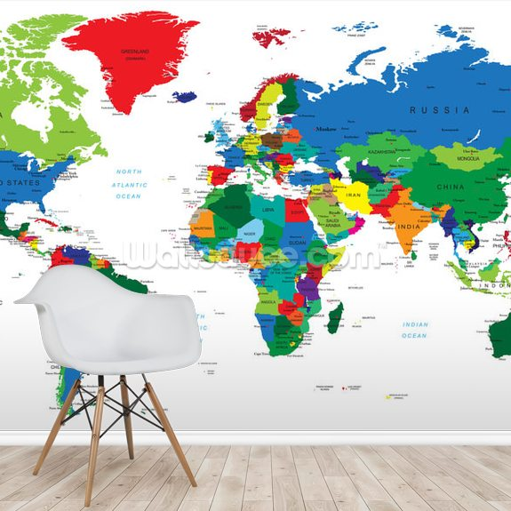 Bright World Map wall mural room setting
