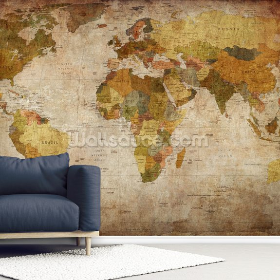 Old Style World Map wall mural room setting