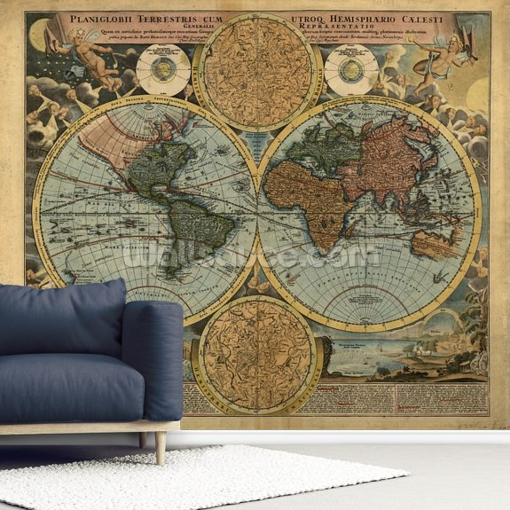Colour Old Map Wallpaper Mural Wallsauce Us - Old-map-of-us