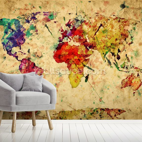 Colourful Vintage Map Wallpaper Mural | Wallsauce CA