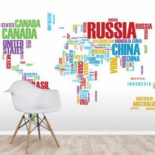 World Map Wallpaper & Wall Murals   Wallsauce CA