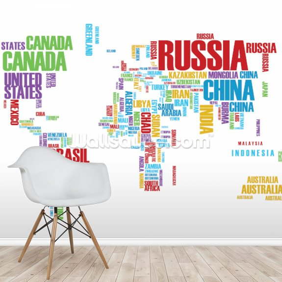 Colourful Word Cloud Map wall mural room setting