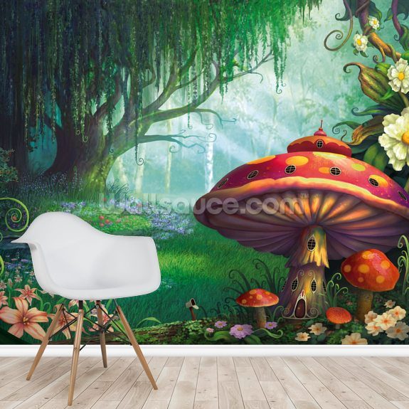 Enchanted Forest Mural Wallpaper Room Setting