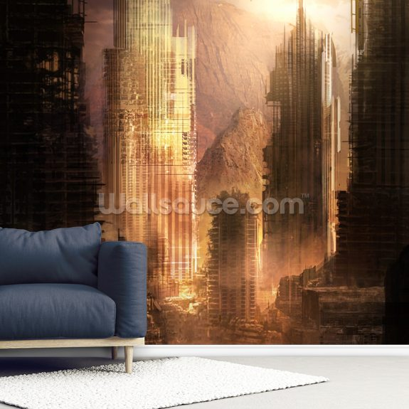 The Arrival wall mural room setting