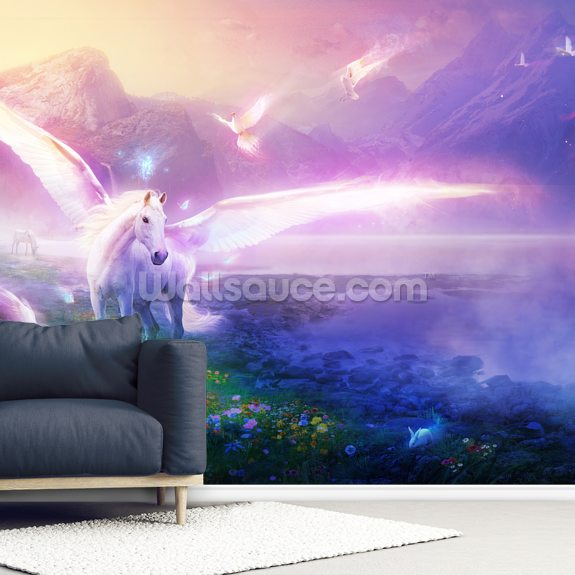 Winter Dawn wallpaper mural room setting