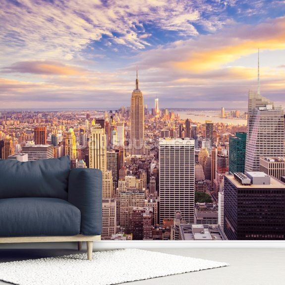 Midtown Manhattan Sunset wallpaper mural room setting