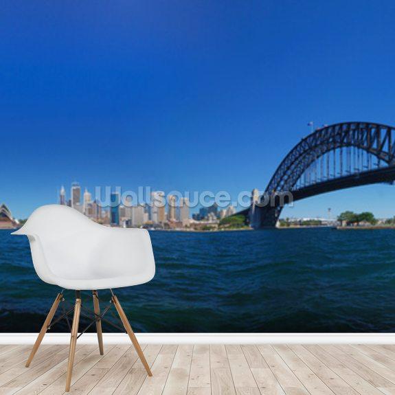 Sydney Harbour Skyline Panorama mural wallpaper room setting