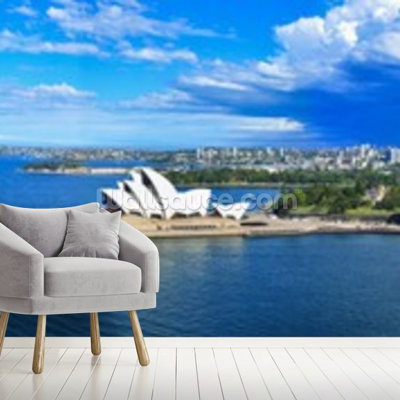Panorama of Sydney Harbor, Australia wallpaper mural room setting