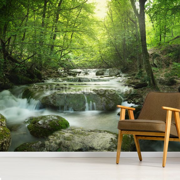 Enchanting Forest Waterfall Mural Wallpaper Room Setting