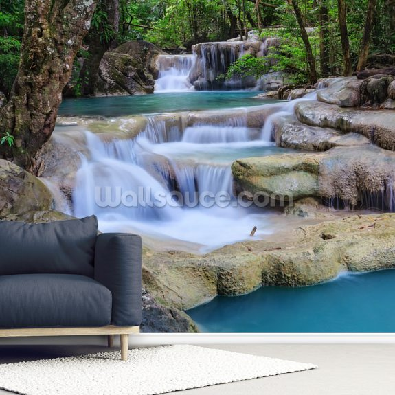 Erawan Waterfall, Kanchanaburi wall mural room setting