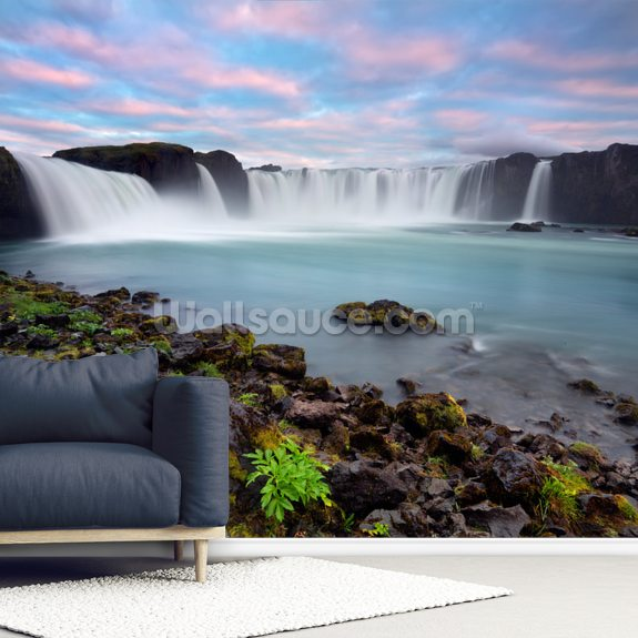 Waterfall of The Gods, Iceland wallpaper mural room setting