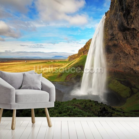 Seljalandsfoss Waterfall, Iceland mural wallpaper room setting